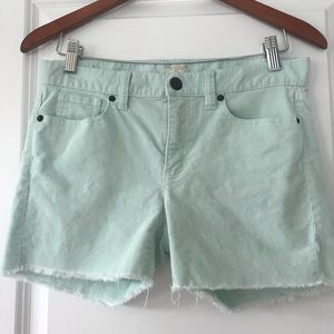 J Crew Stretch mint green cutoffs fringe corduroy